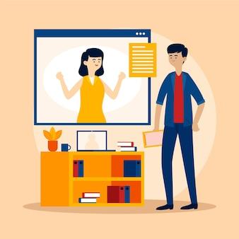 Concepto de entrevista de trabajo en línea