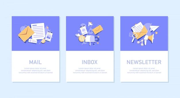Concepto de envío de correo electrónico, publicidad en línea, correo electrónico y mensajería, campaña de marketing por correo electrónico, icono de diseño plano