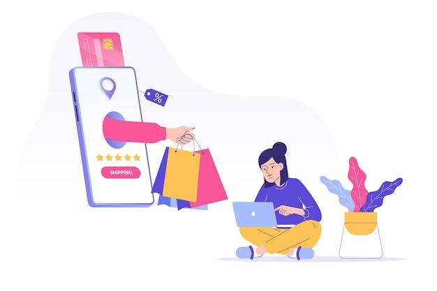 Concepto de envío con mano entregando bolsas de la compra.