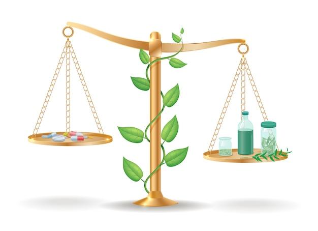 Concepto de equilibrio de libra de medicina alternativa