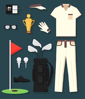 Concepto de equipamiento y ropa de golf detallados: trofeo, bolsa, garrote, pelota, bandera, gorra, guantes, camisa, zapato, sartenes. el deporte del hombre.