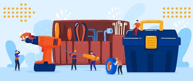 Concepto de equipo de electricista y reparador, personajes de dibujos animados de personas pequeñas, ilustración