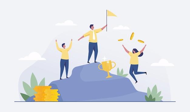 Concepto de equipo empresarial exitoso. equipo de negocios en la cima de la montaña. vector de ilustración