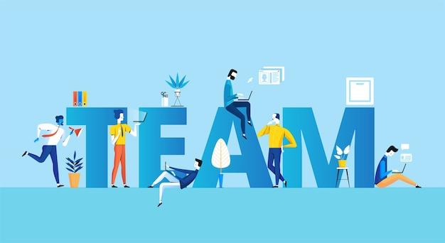 Concepto de equipo empresarial exitoso de pie junto a empleados