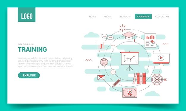 Concepto de equipo de formación con icono de círculo para plantilla de sitio web