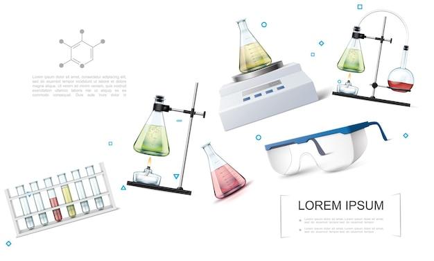 Concepto de equipo de investigación de laboratorio realista con tubos de ensayo, gafas protectoras, escalas electrónicas, experimentos de reacción química con matraces y quemador de alcohol