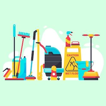 Concepto de equipo de limpieza de superficies