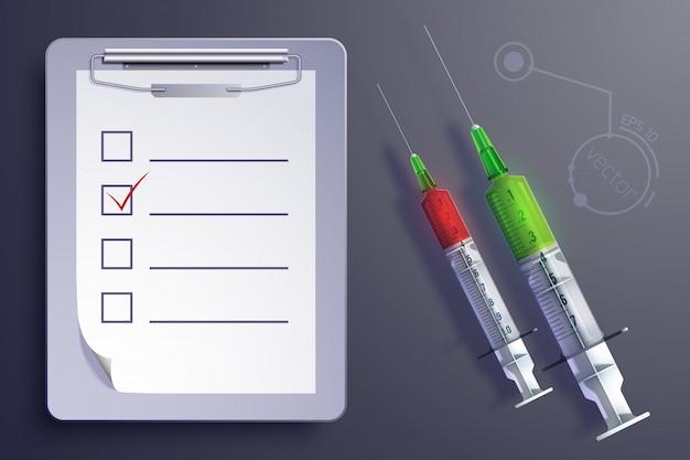 Concepto de equipo médico con jeringas hoja de papel del portapapeles en estilo realista aislado