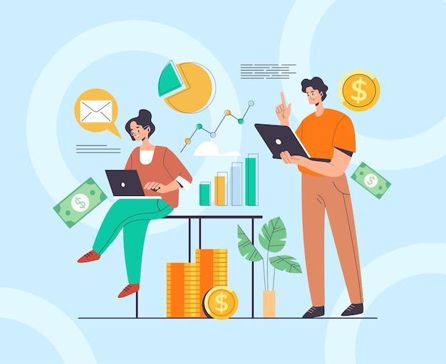 Concepto de equipo de personajes de trabajadores de personas de negocios contable