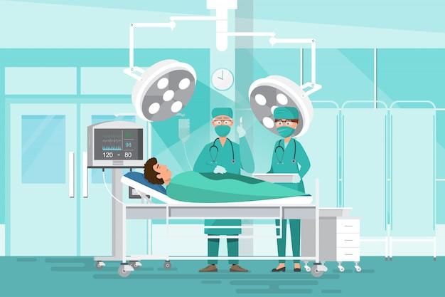 Concepto de equipo de personal médico en el hospital. médicos cirujanos del equipo, enfermero y paciente