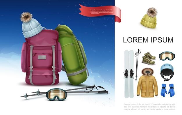 Concepto de equipo y ropa de esquí realista con mochilas bastones de esquí sombrero de punto zapatillas de deporte gafas casco guantes chaqueta