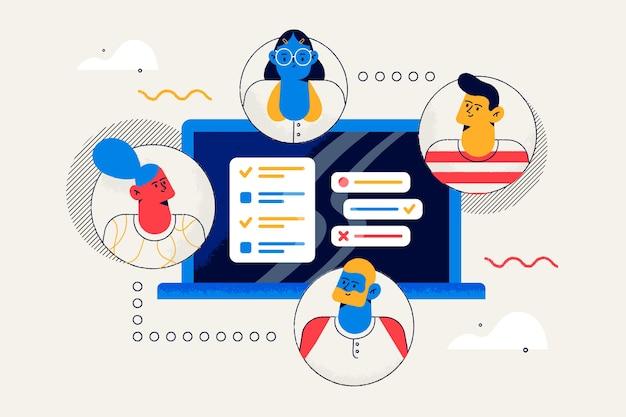 Concepto de equipos de conexión para la página de inicio