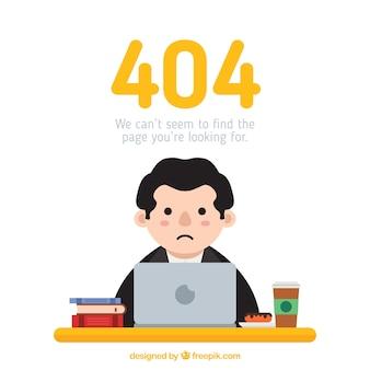 Concepto de error 404 con hombre triste