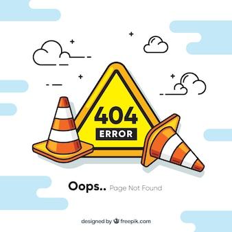 Concepto de error 404 con obras
