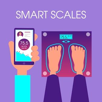 Concepto de escalas inteligentes. conexión inalámbrica entre smartphone
