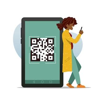 Concepto de escaneo de código qr con caracteres