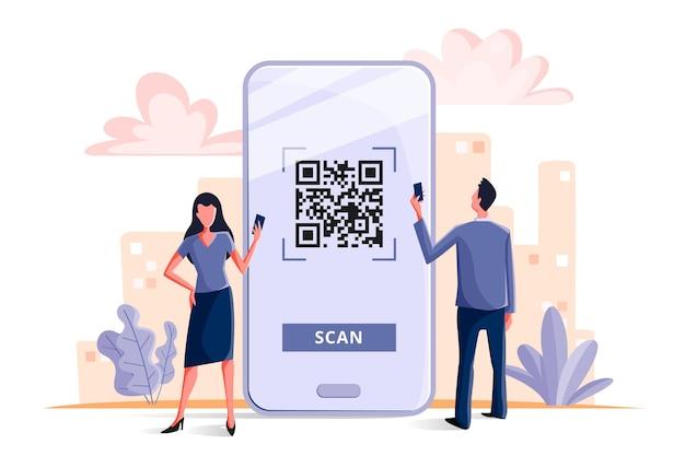 Concepto de escaneo de código qr