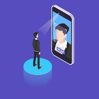 Concepto de escaneo facial. autenticación y verificación facial de acceso. procedimiento de protección de datos. ilustración isométrica