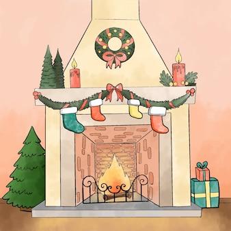 Concepto de escena de chimenea de navidad en acuarela