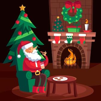 Concepto de escena de chimenea de navidad en diseño plano