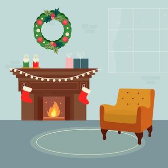 Concepto de escena de chimenea de navidad en mano dibujado