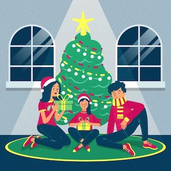 Concepto de escena familiar de navidad dibujado a mano