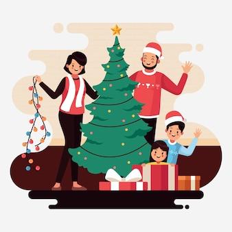 Concepto de escena familiar de navidad en diseño plano