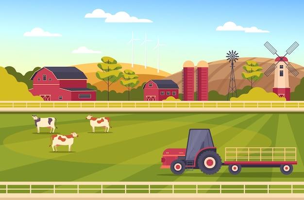 Concepto de escena rural de tierras de cultivo de paisaje de granja