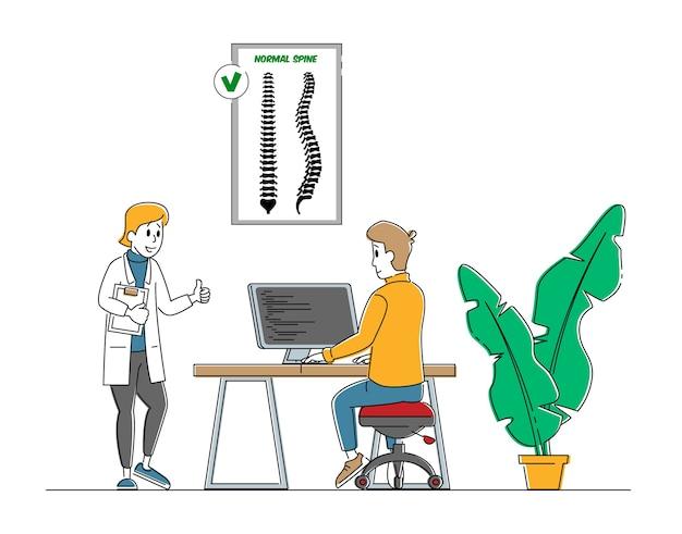 Concepto de escoliosis y deformación de la columna vertebral.