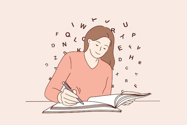 Concepto de escritura de espacio de copia de educación