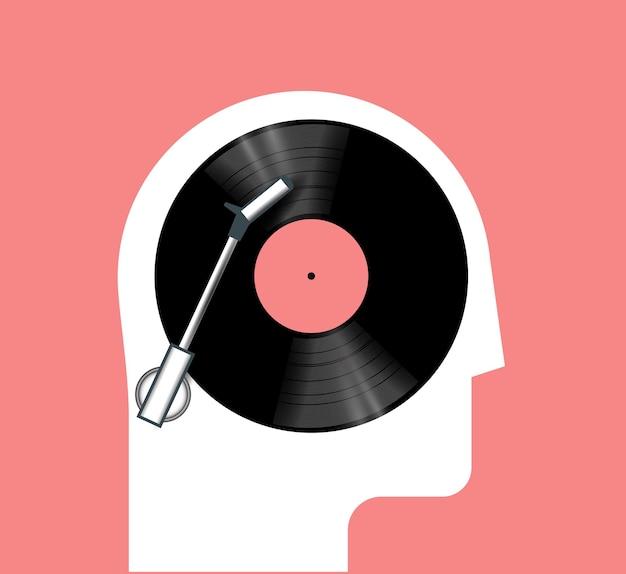 Concepto de escucha de música con silueta de cabeza humana de vista lateral