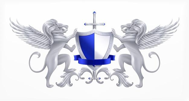 Concepto de escudo heráldico plateado con animales y espada realista.