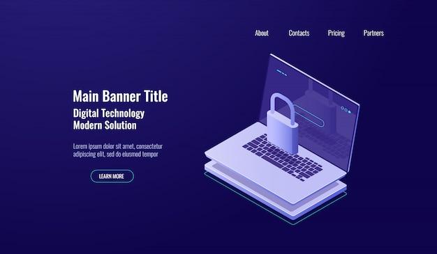 Concepto de escudo isométrico de seguridad de datos, laptop con candado, protección de cuenta, internetwork seguro