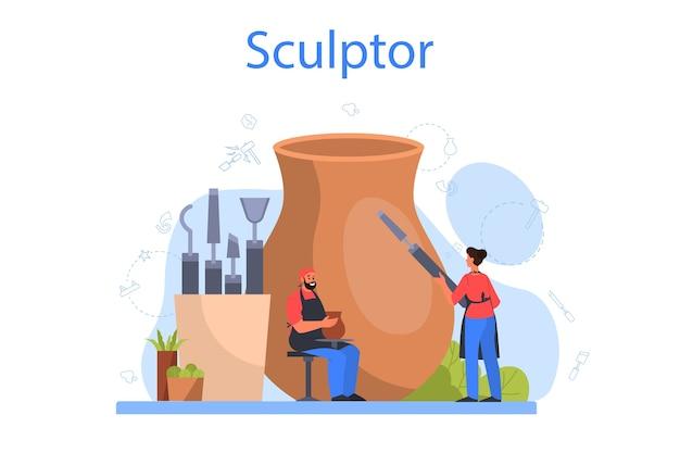 Concepto de escultor profesional. creando escultura de mármol,