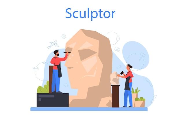 Concepto de escultor profesional