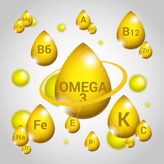 Concepto esencial de vitaminas y minerales