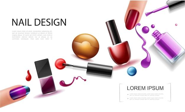 Concepto de esmalte de uñas realista con botellas de colores, salpicaduras de laca, salpicaduras de gotas y dedos femeninos con una hermosa manicura