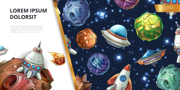 Concepto de espacio colorido de dibujos animados con fantasía planetas meteoros asteroides cohete ovni y nave espacial