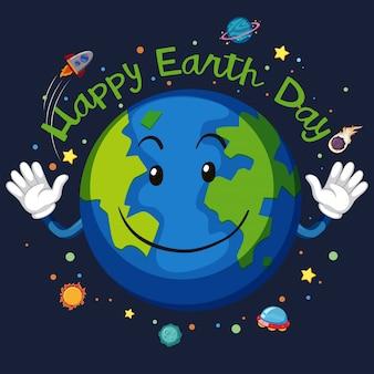 Concepto de espacio feliz día de la tierra