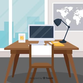 Concepto de espacio de trabajo en diseño flat