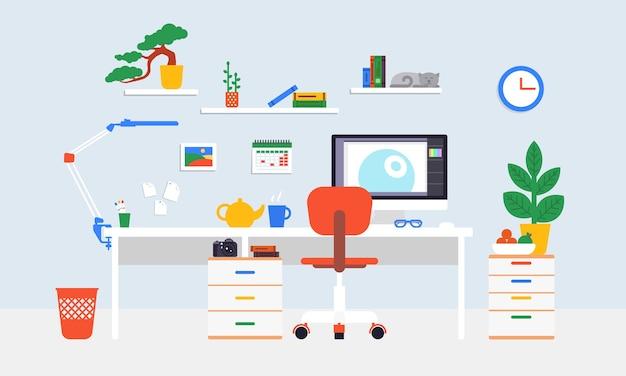 Concepto de espacio de trabajo plano