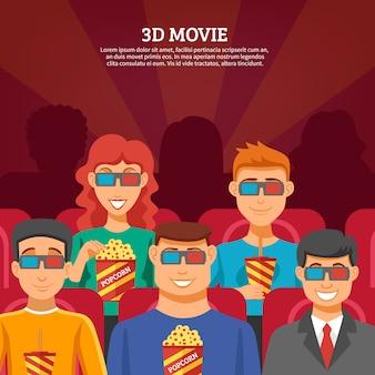 Concepto de espectadores de cine