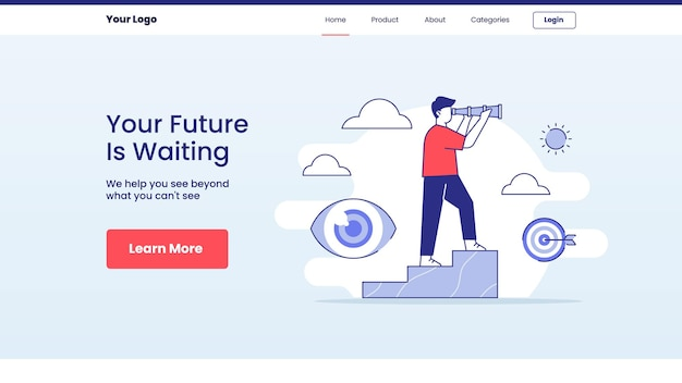 Concepto de espera futura para el diseño de la página de inicio de aterrizaje de plantilla de sitio web