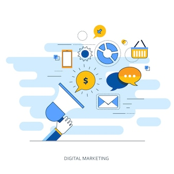 Concepto de esquema de marketing digital