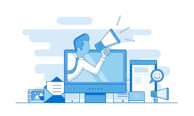Concepto de esquema de marketing digital