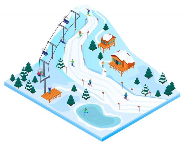 Concepto de estación de esquí, estilo isométrico