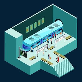 Concepto de estación de metro isométrica