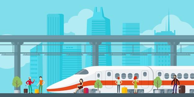 Concepto de estación de tren colorido