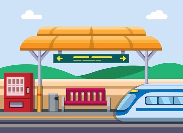 Concepto de estación de tren en vector de ilustración plana de dibujos animados