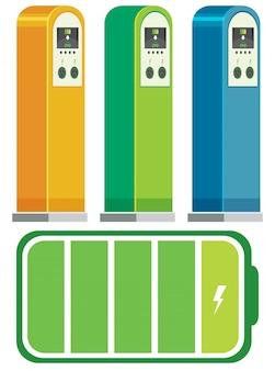Concepto de estaciones de carga de vehículos eléctricos.